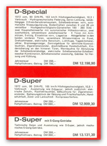 Citroen Preisliste und Ausstattung 1972