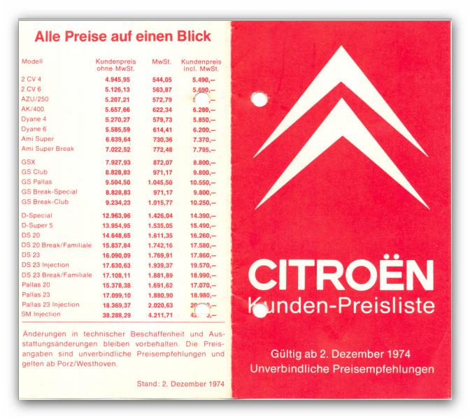 Preisliste 1974